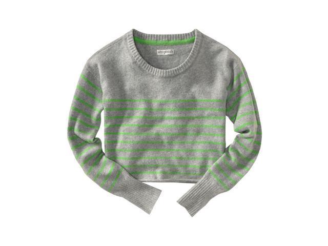 Aeropostale Womens Long Sleeve Opposite Stripe Knit Sweater lththrgreen XL