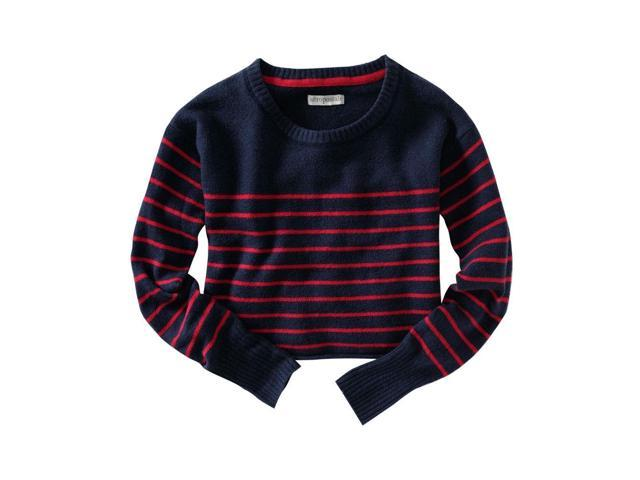 Aeropostale Womens Long Sleeve Opposite Stripe Knit Sweater navyniblue S