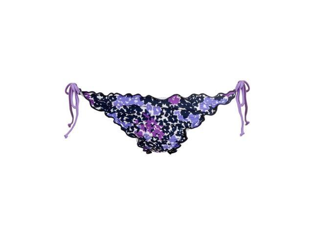 Aeropostale Womens scalloped floral string tie swim bottoms - Plum - XS - 9320