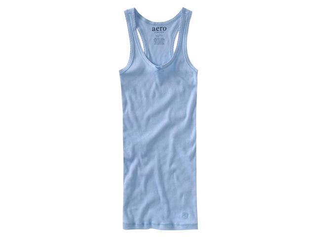 Aeropostale Womens Solid Ribbed Sleep Pajama Camisole crystalblue XL