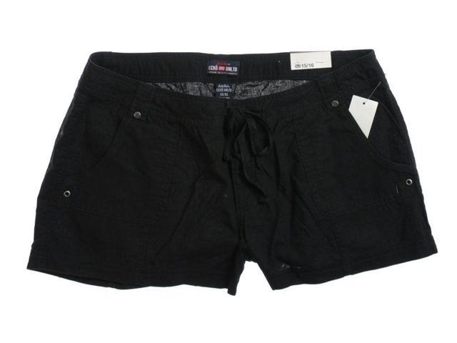 Ecko Unltd. Womens Linen Blend Casual Walking Shorts black 3/4