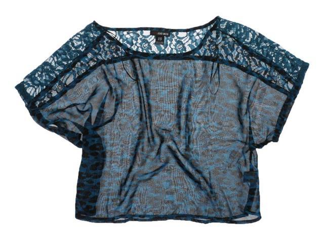 Ecko Unltd. Womens Printed Lace Crop Pullover Blouse seablue L
