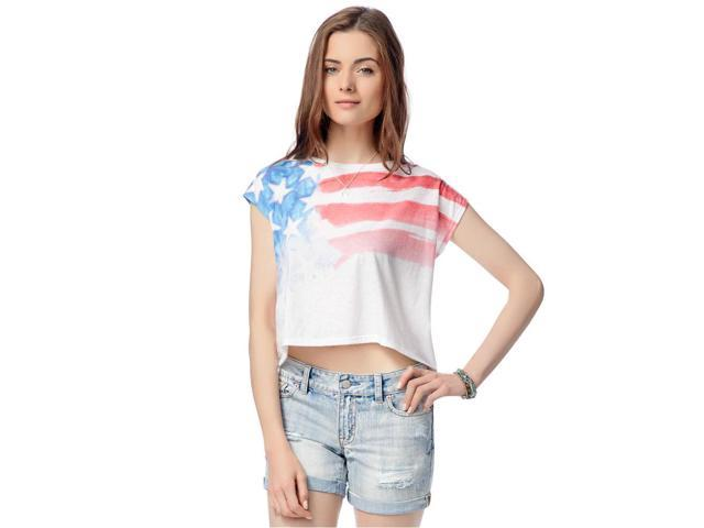 Aeropostale Womens American Flag Graphic T-Shirt 102 XS