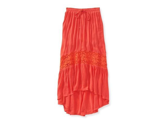 Aeropostale Womens Full Length Lace Insert Maxi Skirt 873 XL