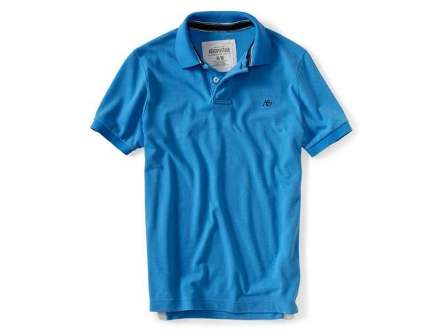 Aeropostale Mens Solid A87 Uniform Logo Rugby Polo Shirt blueja XS