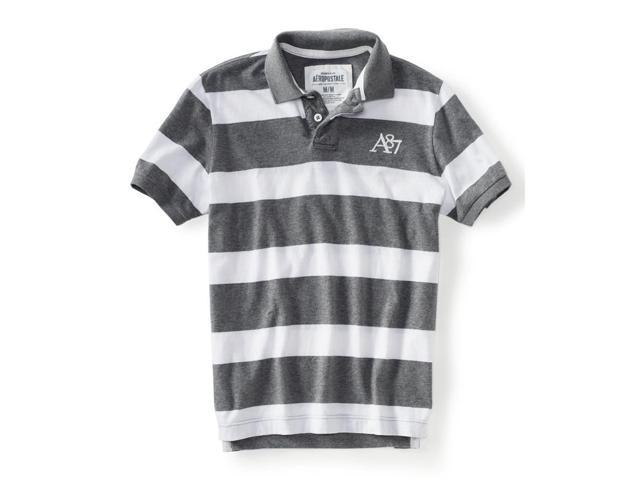 Aeropostale Mens Stripe A87 Rugby Polo Shirt medgre XS