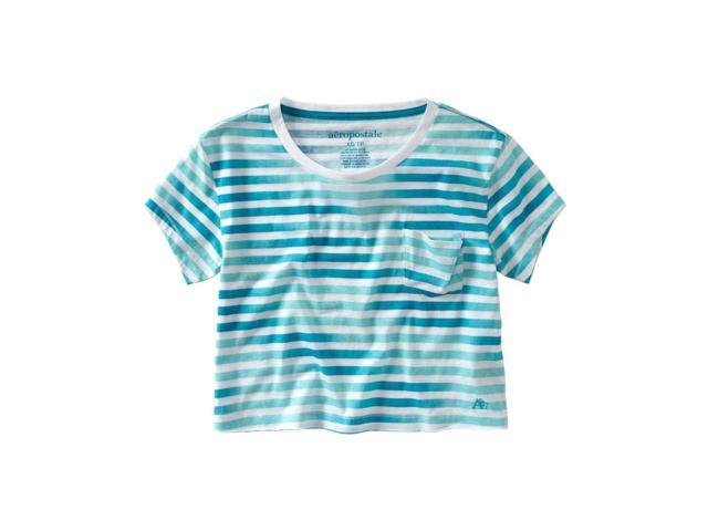 Aeropostale Womens Stripe Cropped Pocket Graphic T-Shirt surf M