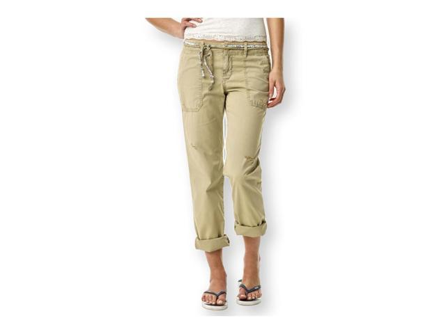 Aeropostale Womens Straight Leg Belted Casual Chino Pants beige 11/12x32