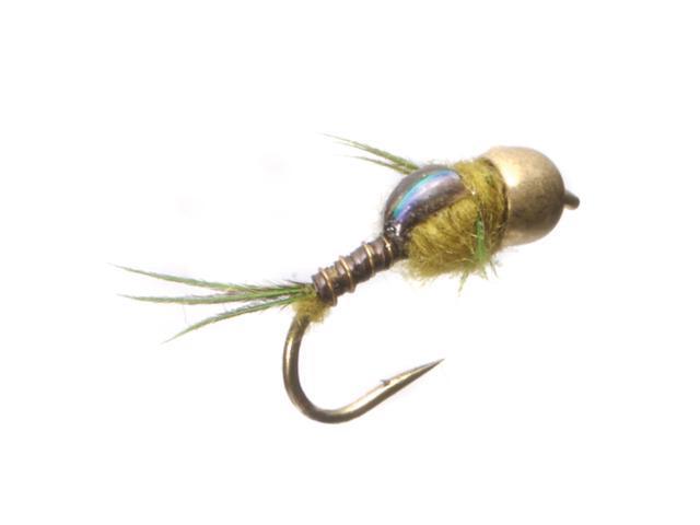 Umpqua Micro Mayfly Tungsten-Tarnished Gold Bead Olive Fly Fish Size 16 - 12 Pk