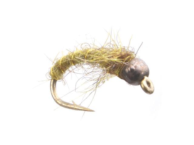 Umpqua Electric Caddis Tungsten Olive Fly Fishing Size 18 - 12 Pack