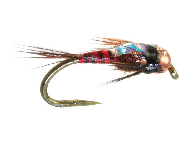 Umpqua Two Bit Hooker Red Fly Fishing Tungsten Bead Head Flies Size 16 - 2 Pack