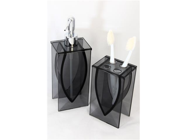 LIANG THING, High Sense Black Glass 2-Piece Bath Set / Bath / Bathroom Accessories - Includes Lotion Dispenser & Toothbrush Holder