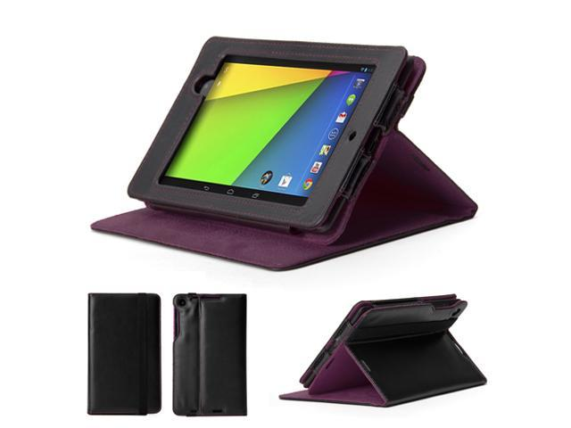 GMYLE (TM) Black and Purple PU Leather Slim Flip Folio Case Cover Stand for Google New Nexus 7 FHD 2013 Version 2