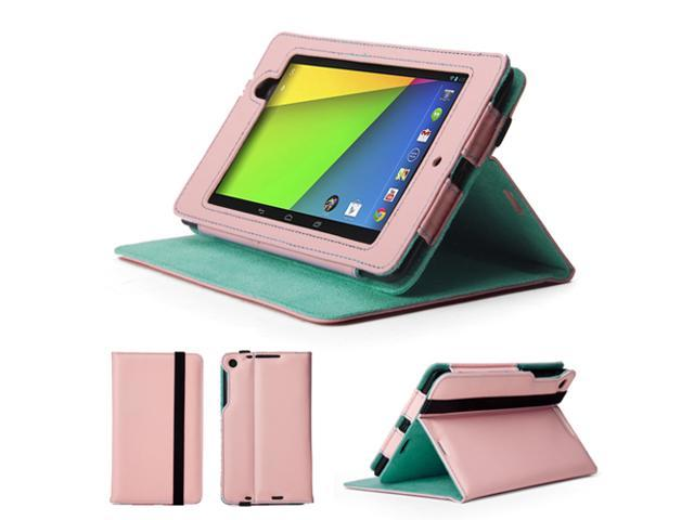 GMYLE (TM) Pink and Robin Egg Blue PU Leather Slim Flip Folio Case Cover Stand for Google New Nexus 7 FHD 2013 Version 2
