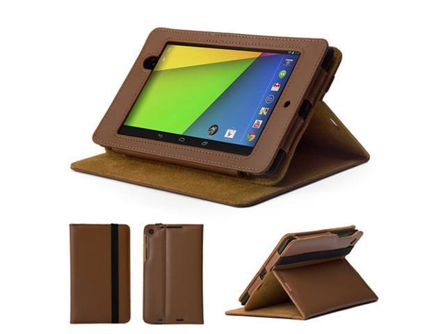GMYLE (TM) Brown & Khaki PU Leather Slim Flip Folio Case Cover Stand for Google New Nexus 7 FHD 2013 Version 2