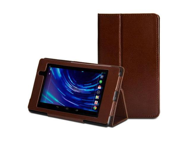 Brown Folding Folio Stand Case Cover with Auto Wake/Up Function for Nexus 7 FHD 2nd 2013 Generation (Multi Angle)