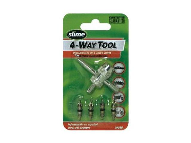 Slime 20088 4-Way Valve Tool & Valve Cores