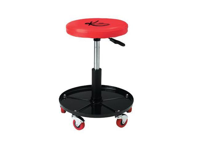 "K Tool 74971 Padded Creeper Seat, 12"" Round, Adjustable Pneumatic Lift 14"" to 19"", Five 2-1/2"" Rubber Casters"