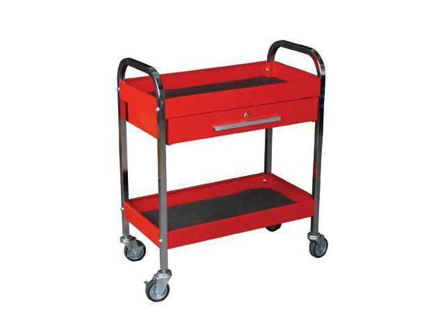 K Tool 75105 Metal Utility Cart, Red, Locking Drawer, 2 Shelves, 3