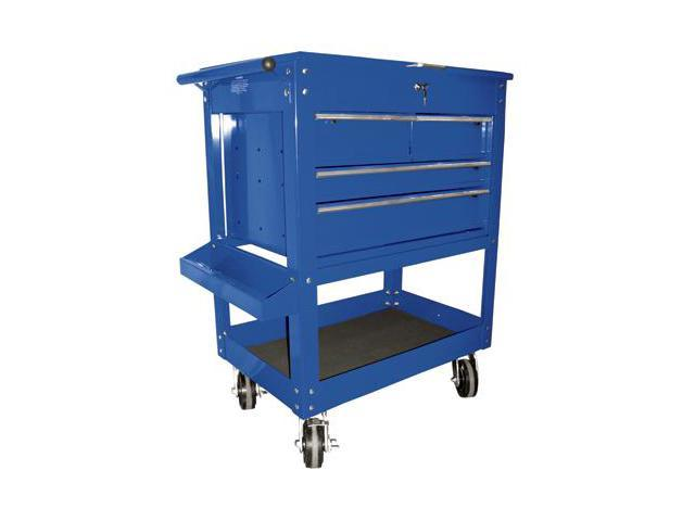 K Tool 75141 Metal Utility Cart, Blue, 4 Drawers with Locking Cover, 5