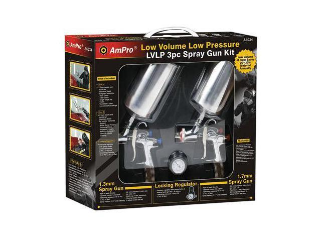 Ampro A6034 3pc L.V.L.P. Spray Gun Set