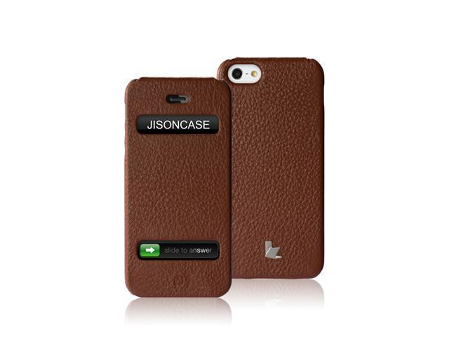 Jisoncase Executive Genuine Leather Flip Case for iPhone 5, JS-IP5-002B-Brown