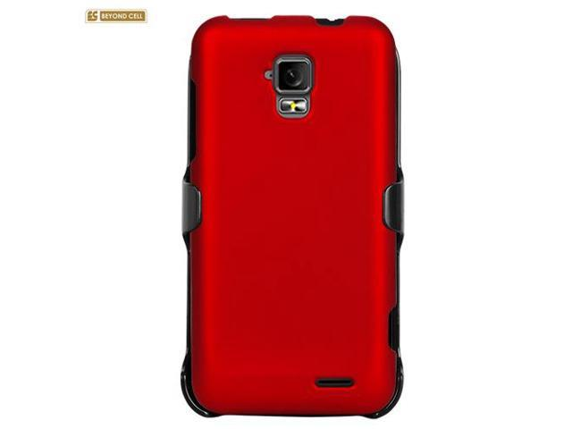 Red Rubberized Phone Case Holster Kombo with Screen Protector for ZTE Z998 / Unico LTE