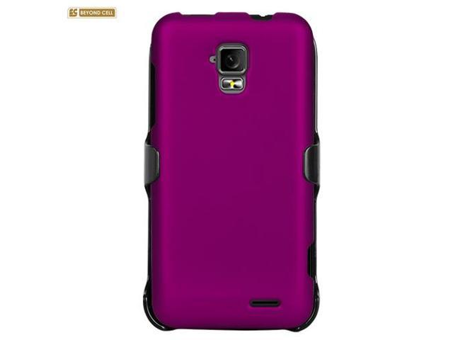 Purple Rubberized Phone Case Holster Kombo with Screen Protector for ZTE Z998 / Unico LTE