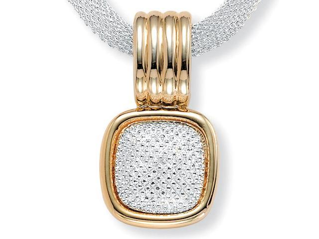 PalmBeach Jewelry Two-Tone Gold Tone and Silvertone Diamond-Cut Pendant and Mesh Necklace 17