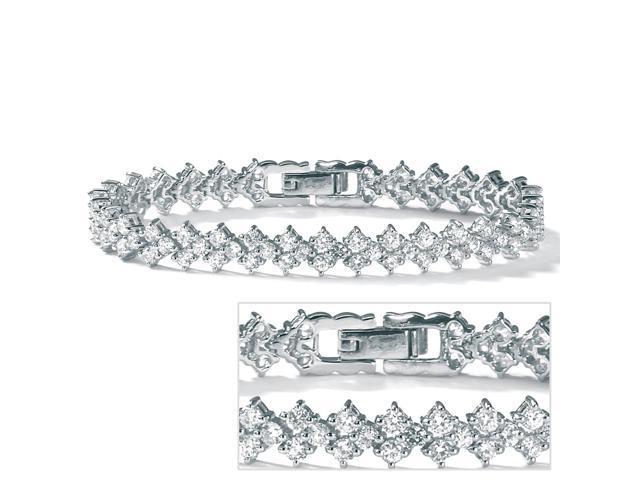 PalmBeach Jewelry 9.20 TCW Round Cubic Zirconia Platinum over Sterling Silver Tennis Bracelet 7 1/2