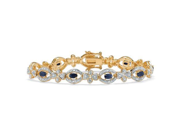 3.26 TCW Oval-Cut Midnight Blue Sapphire and Diamond Bracelet in 18k Gold over Sterling Silver