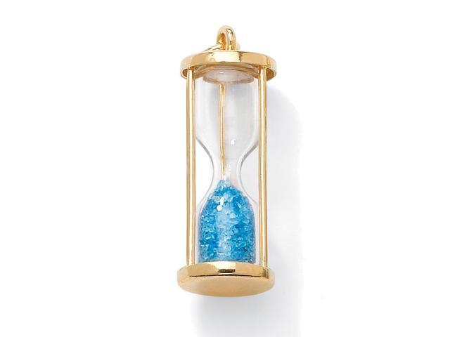 Genuine Birthstone Granules 18k Gold over Sterling Hourglass Pendant - March- Simulated Aquamarine