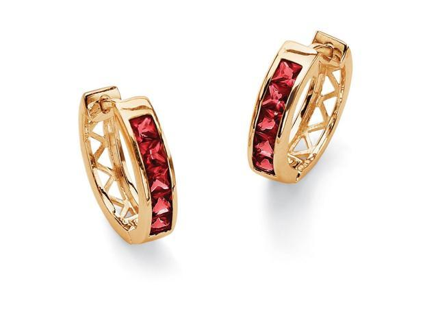 PalmBeach Jewelry Channel-Set Birthstone 18k Gold-Plated Huggie-Hoop Earrings - July- Simulated Ruby