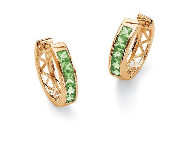 Channel-Set Birthstone 18k Gold-Plated Huggie-Hoop Earrings - August- Simulated Peridot