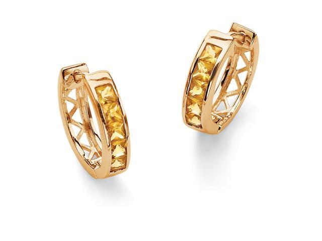 Channel-Set Birthstone 18k Gold-Plated Huggie-Hoop Earrings - November- Simulated Citrine