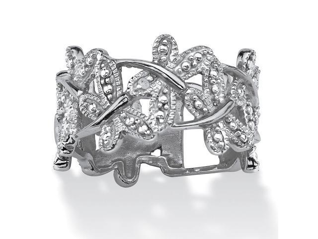 PalmBeach Jewelry Diamond Accent Platinum-Plated Butterfly Band Ring