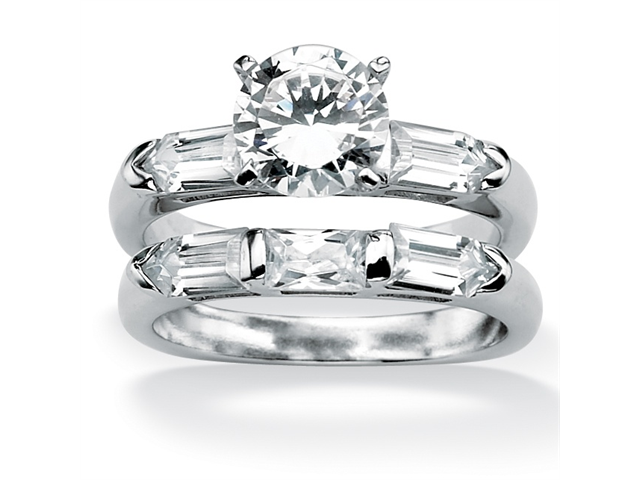 3.15 TCW Cubic Zirconia Platinum over Sterling Silver Squared Bridal Engagement Wedding Band Set