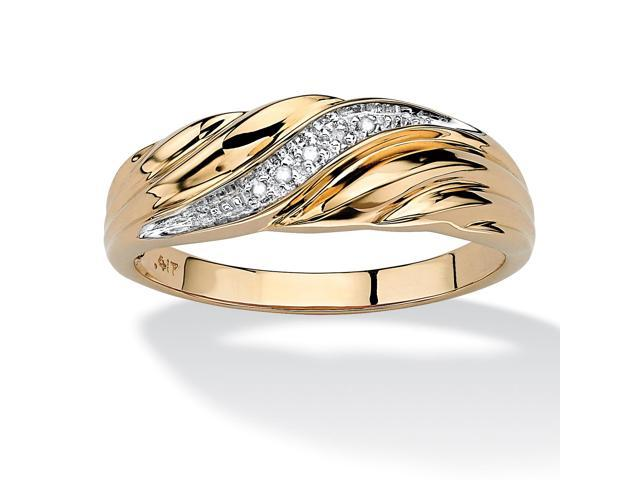 PalmBeach Jewelry Men's Diamond Accent 10k Yellow Gold Swirled Wedding Band Ring