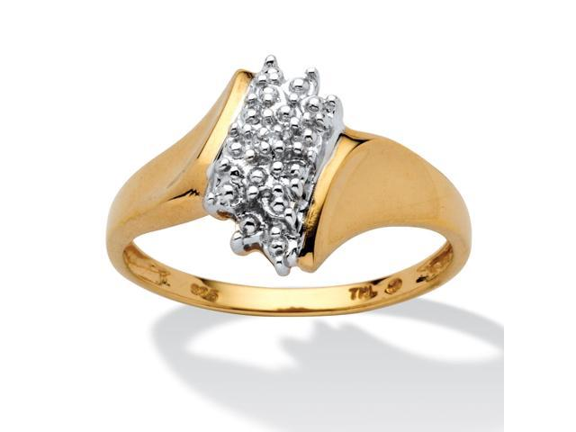 PalmBeach Jewelry Pave Diamond Accent Cluster Ring in 18k Gold over Sterling Silver