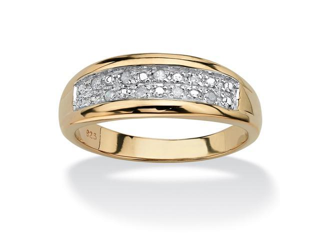 PalmBeach Jewelry Men's 1/8 TCW Pave Diamond Wedding Band in 18k Gold over Sterling Silver