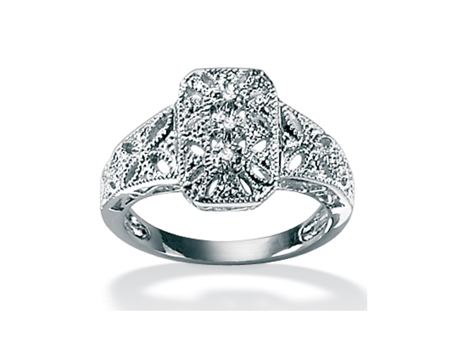 PalmBeach Jewelry Diamond Accent Platinum over Sterling Silver Filigree Ring