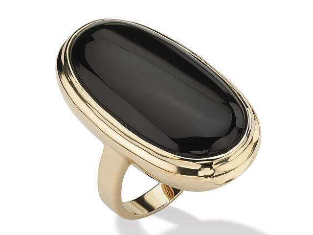 PalmBeach Jewelry Oval-Shaped Genuine Onyx 14k Yellow Gold-Plated Ring