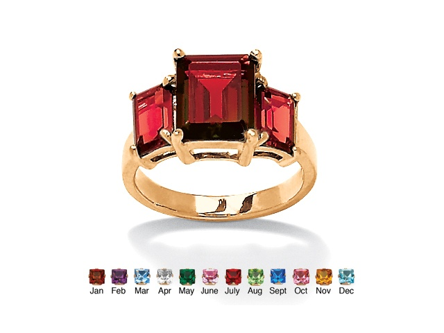 PalmBeach Jewelry Emerald-Cut Triple Birthstone Ring 18k Gold-Plated - July- Simulated Ruby