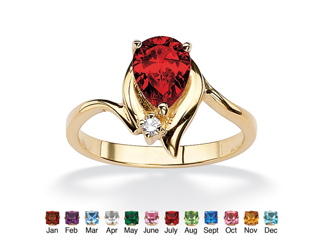 PalmBeach Jewelry Pear-Cut Birthstone and Crystal Accent Ring 18k Gold-Plated - July- Simulated Ruby