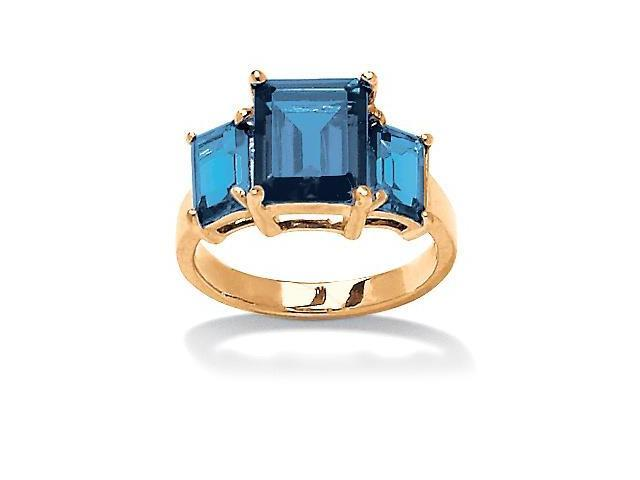 PalmBeach Jewelry Emerald-Cut Triple Birthstone Ring 18k Gold-Plated - March- Simulated Aquamarine