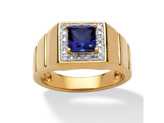 Men's 1 TCW Square-Cut Blue Lab Created Sapphire 18k Gold over Sterling Silver Ring