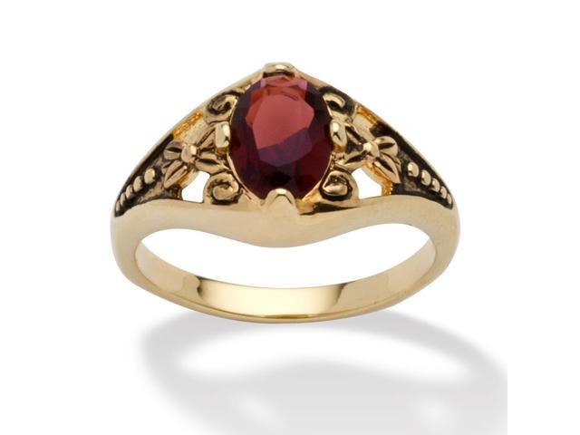 Oval-Cut Birthstone Filigree Ring in Antiqued 14k Gold-Plated - January- Simulated Garnet