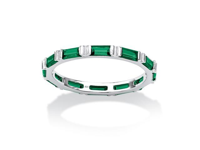 Baguette Birthstone Stackable Eternity Band in .925 Sterling Silver - May- Simulated Emerald