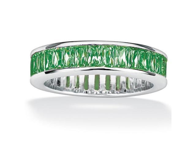 PalmBeach Jewelry Emerald-Cut Birthstone Sterling Silver Eternity Band- May- Simulated Emerald