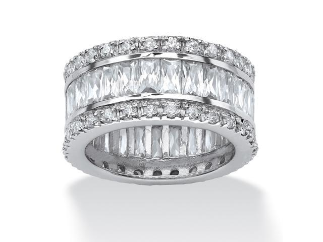 PalmBeach Jewelry 9.34 TCW Round and Emerald-Cut Cubic Zirconia Eternity Band Ring Platinum-Plated